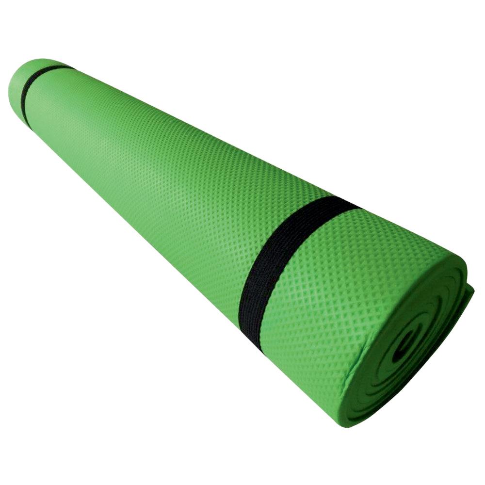 Um tapete em EVA enrolado verde