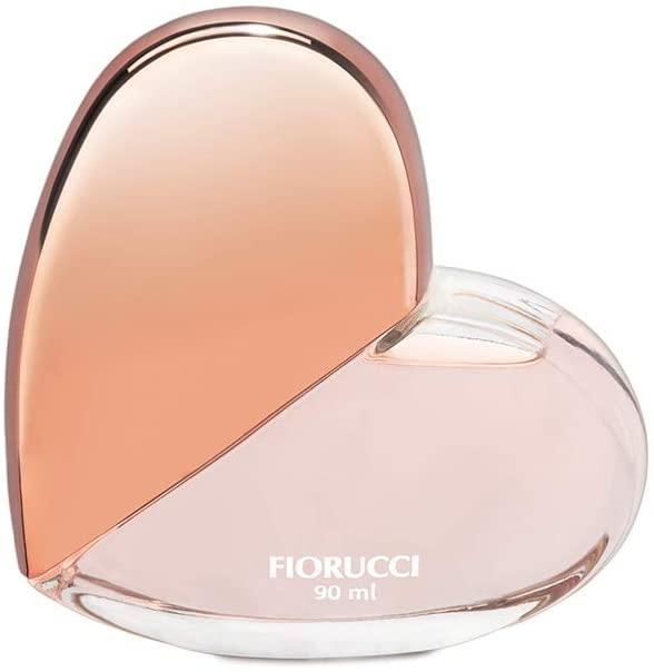 Frasco de vidro em formato de coração, com metade rosa mais escuro e a outra metade rosa mais claro