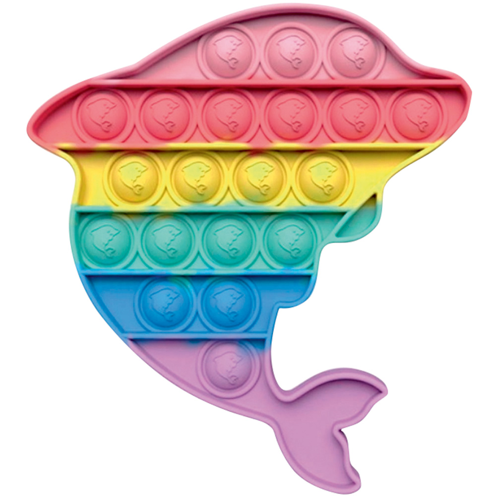 Golfinho fidget toy com bolhas de apertar colorida nas cores do arco-íris