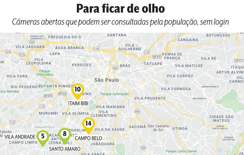 mapa de região de são paulo com indicação de localização dessas câmeras abertas. 10 estão no itaim bibi, 14 no campo belo, 8 em santo amaro e 5 na vila andrade