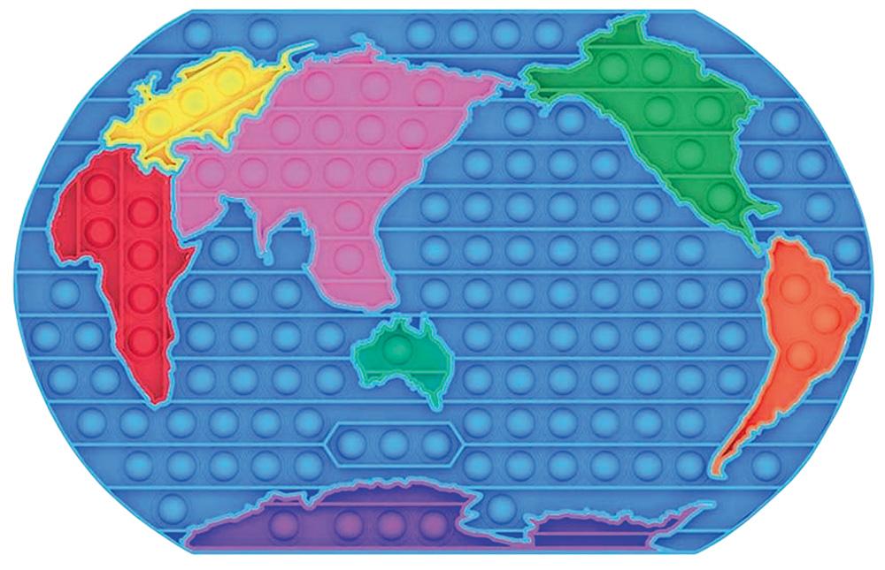 Um mapa-múndi com com bolhas de apertar coloridas, cada continente é uma cor