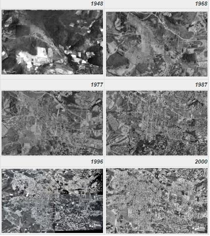Imagem mostra fotos aéreas entre 1948 e 2000: antes, mato e área verde, depois, milhares de casas