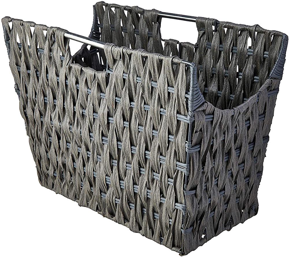 No formato de um cesto, revisteiro é cinza
