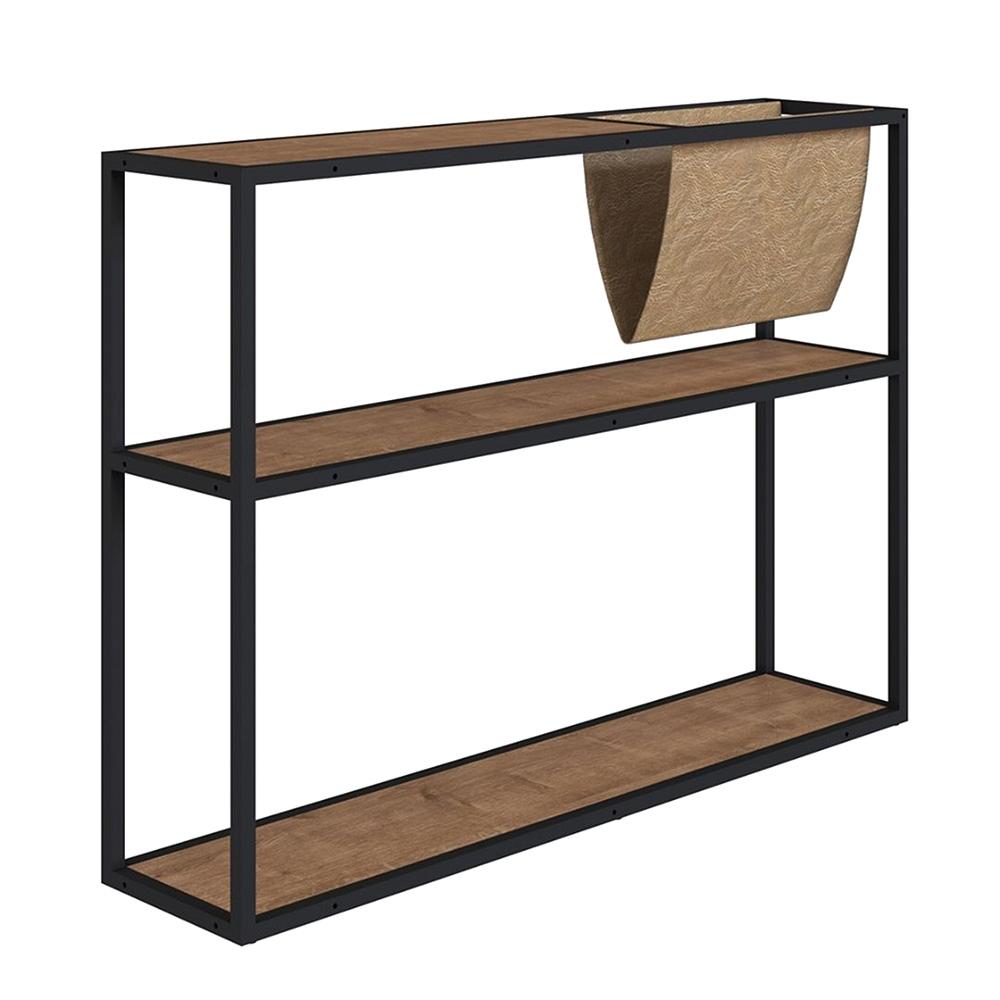 Em formato de estante, revisteiro tem três prateleiras em marrom e cinza escuro
