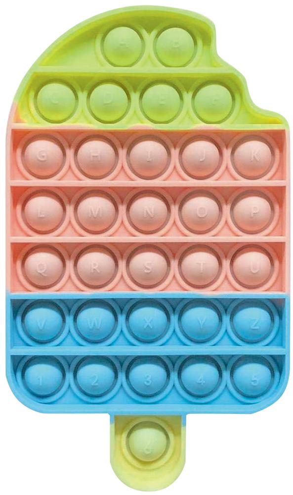 Sorvete fidget toy com bolhas de apertar colorida nas cores amarelo, rosa e azul