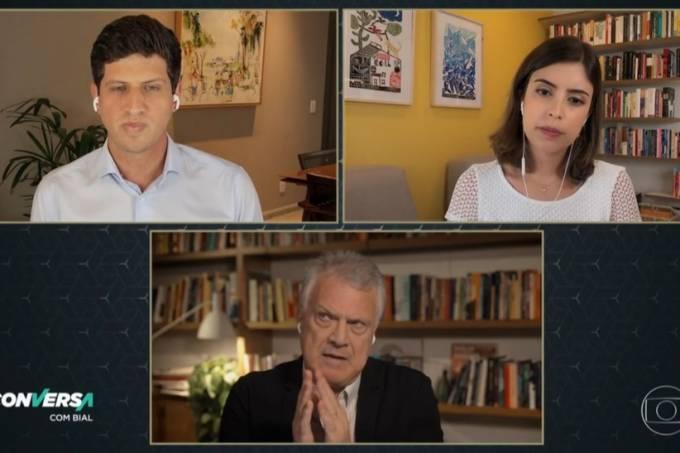 Tabata Amaral e João Campos durante entrevista ao programa Conversa com Bial
