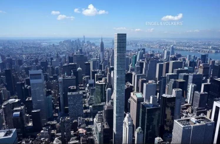 Vista aérea de manhattan, com o prédio 432 Park Avenue entre eles, sendo o mais alto