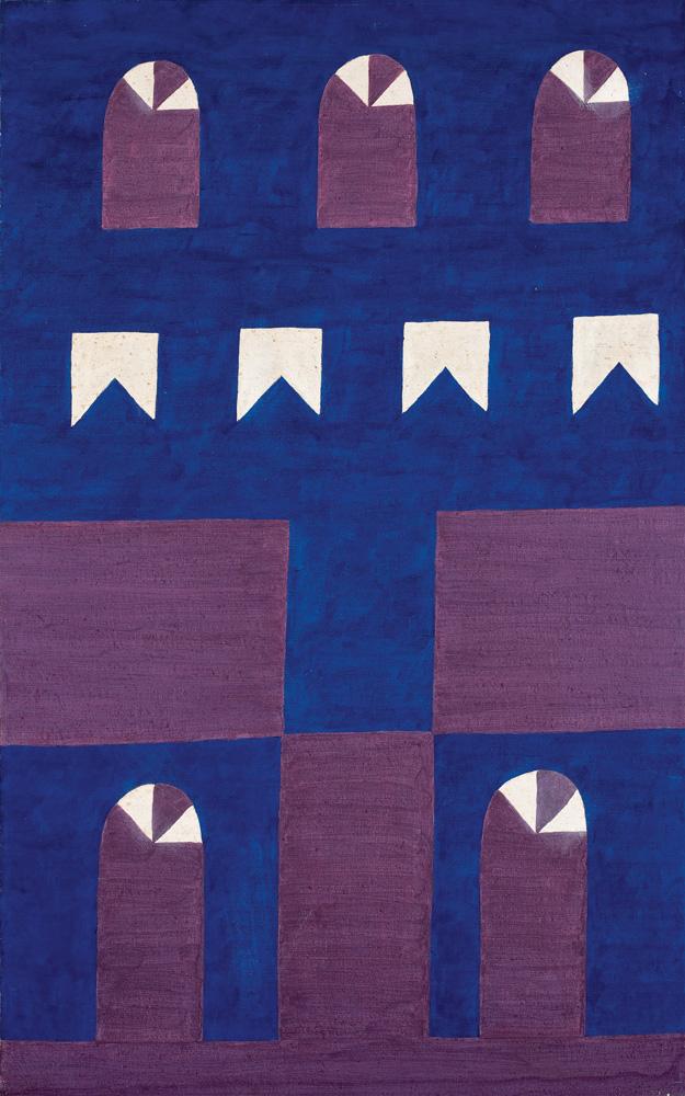 Uma tela com fundo todo azul escuro. Em roxo, há formas que parecem ser janelas e portas. E em branco, formas que parecem bandeirinhas de festa junina