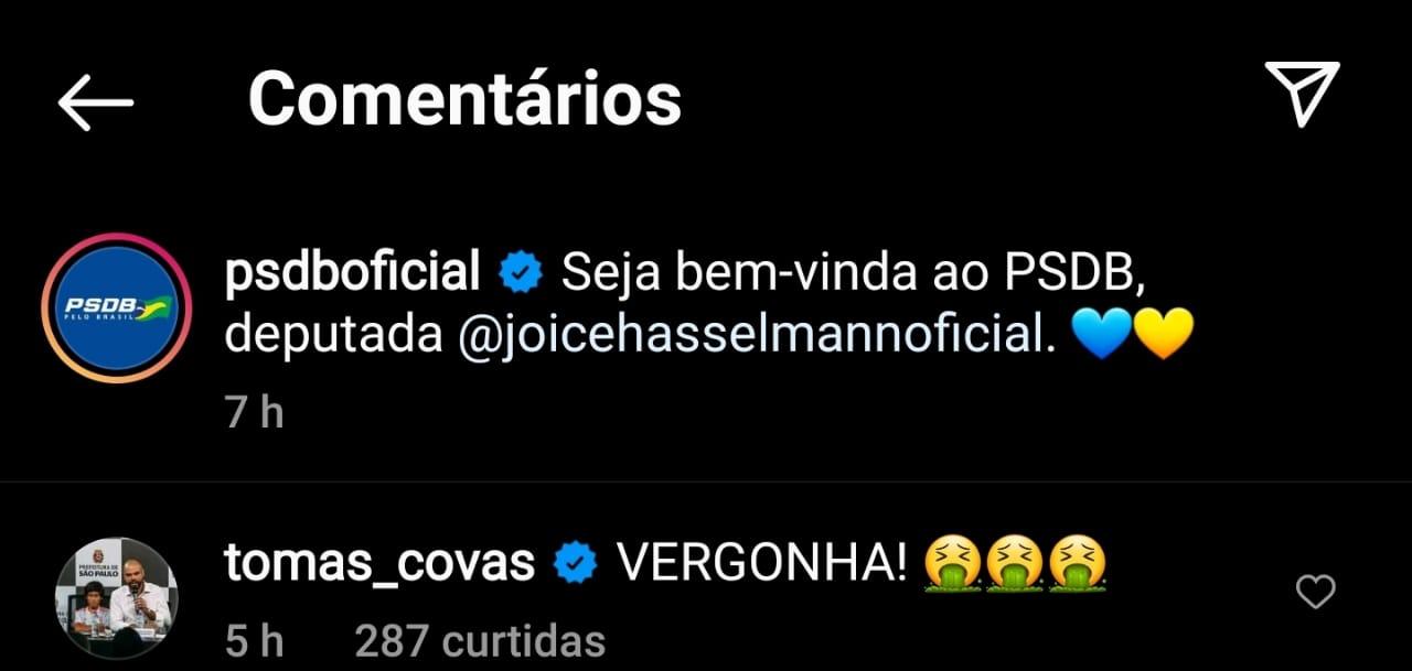 Imagem mostra conta do PSDB no Instagram dizendo: