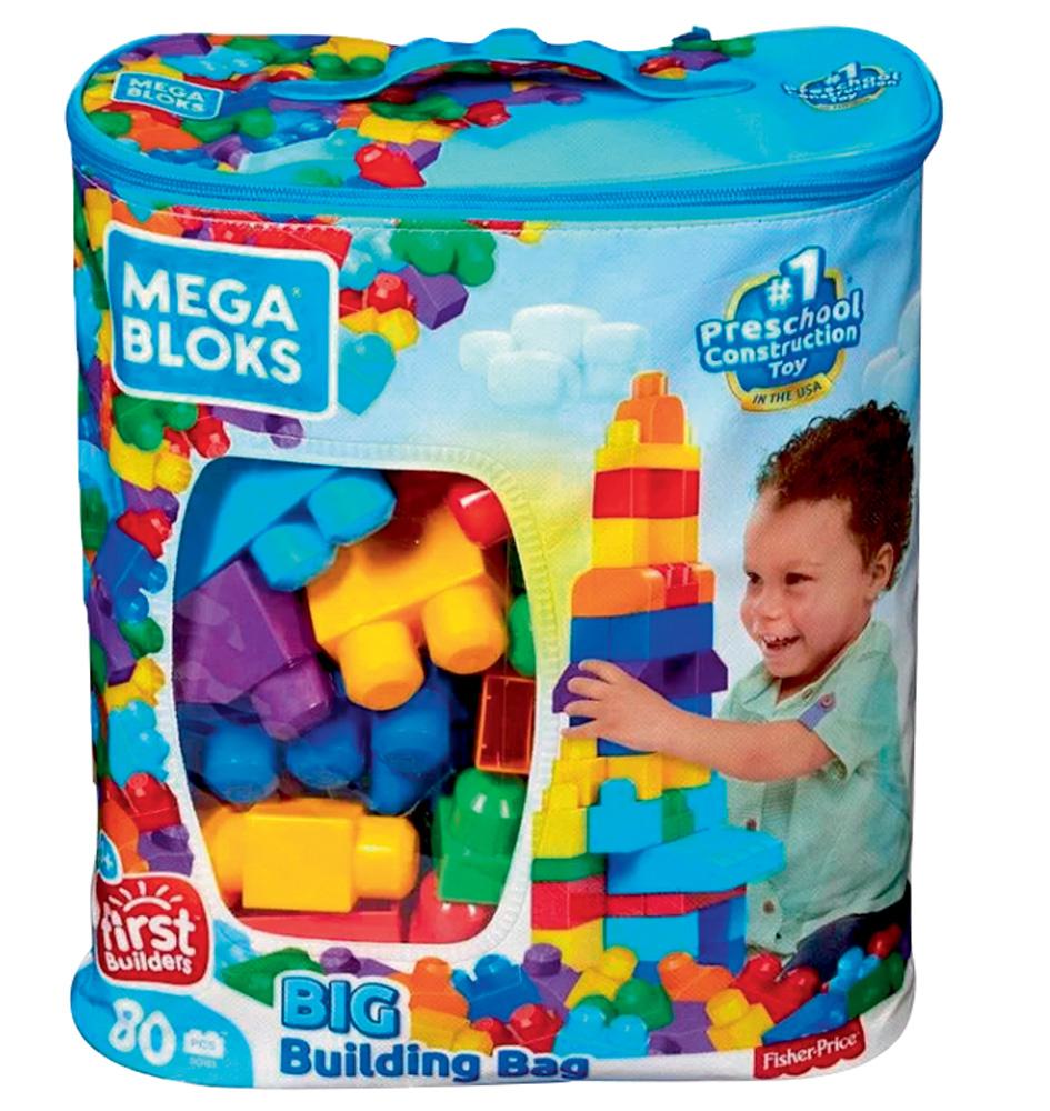 Um saco com blocos de encaixar coloridos dentro. Na embalagem, a ilustração de uma criança brincando