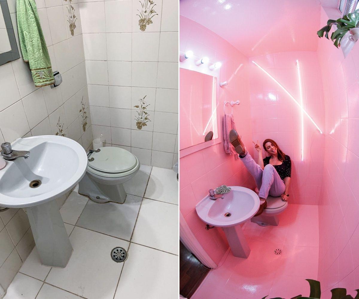 imagem dividida em duas: à esquerda, banheiro de maddu magalhães antes da reforma, à direita, maddu em seu banheiro após a reforma posando para a foto; há neons rosas na parede do banheiro