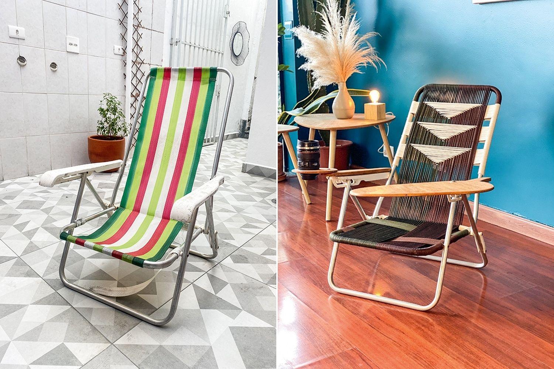 imagem dividida em duas: à esquerda, cadeira de praia desgastada, à direita, cadeira de praia reformada, com rede mudada e apoio de madeira no lugar de um dos braços